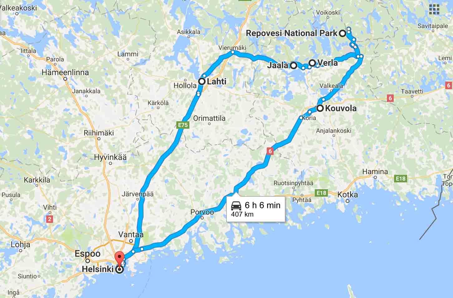 itinéraire voyage en Finlande