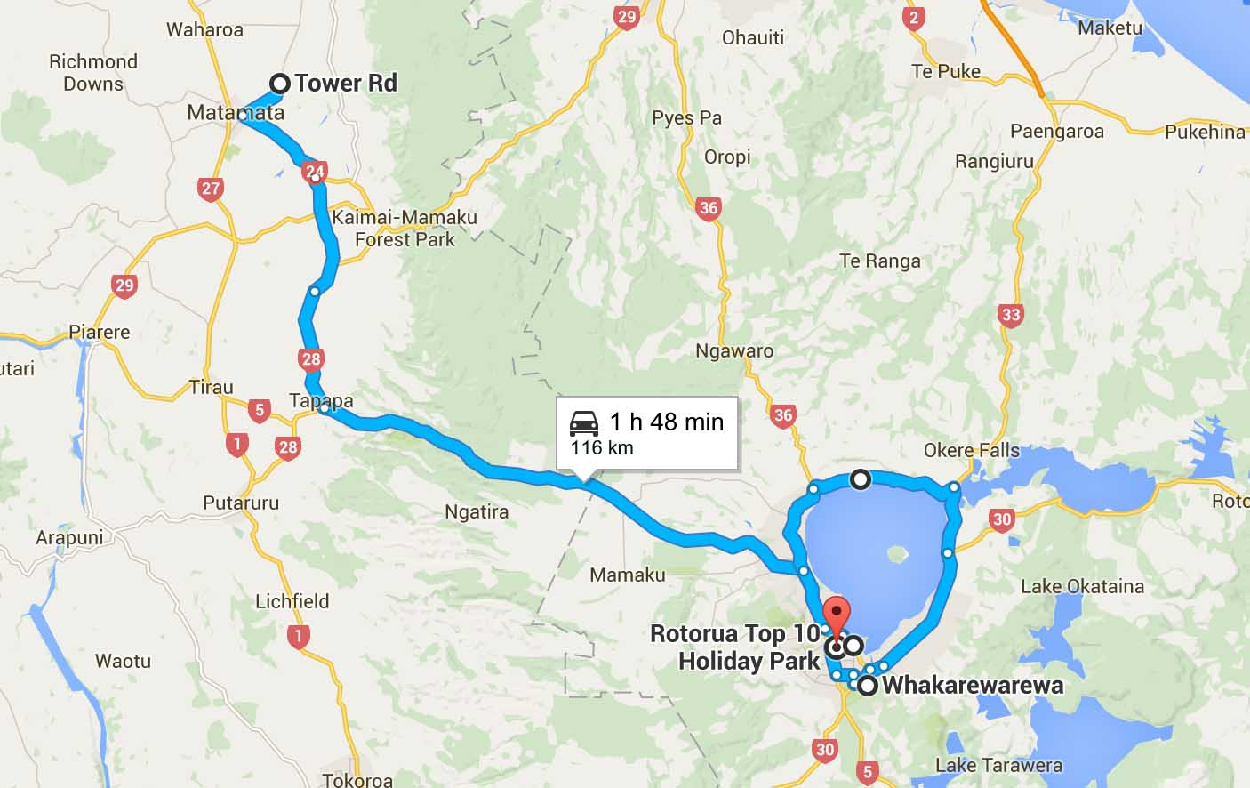itinéraire Rotorua