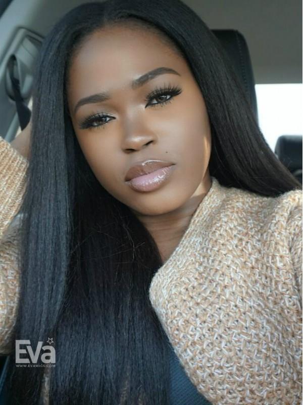 EvaWigs Best Seller Kinky Straight Full Lace Human Hair U