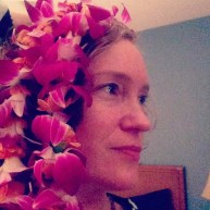 Playing with my lei
