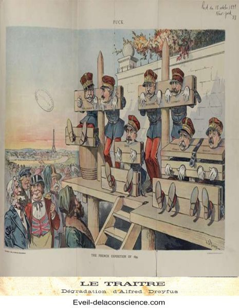 La dégradation d'Alfred Dreyfus, le 5 janvier 1895. Dessin d'Henri Meyer en couverture du Petit Journal du 13 janvier 1895, légendé « Le traître »-