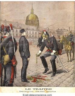 La dégradation d'Alfred Dreyfus, le 5 janvier 1895. Dessin d'Henri Meyer en couverture du Petit Journal du 13 janvier 1895, légendé « Le traître »