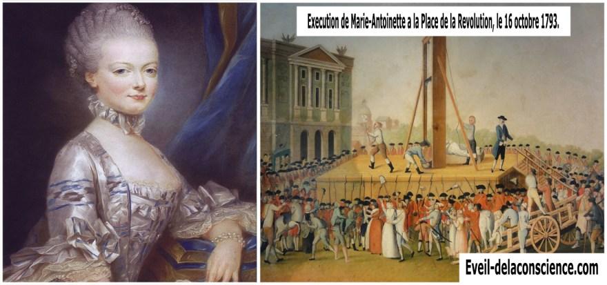 Marie Antoinette et Le complot Maconnique - Exécution de Marie-Antoinette à la Place de la Révolution, le 16 octobre 1793. (Anonyme. Musée Carnavalet).