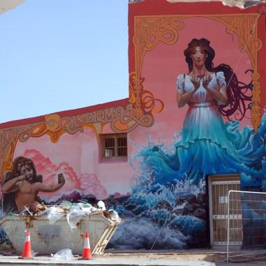 Muurschildering Aphrodite en Eros