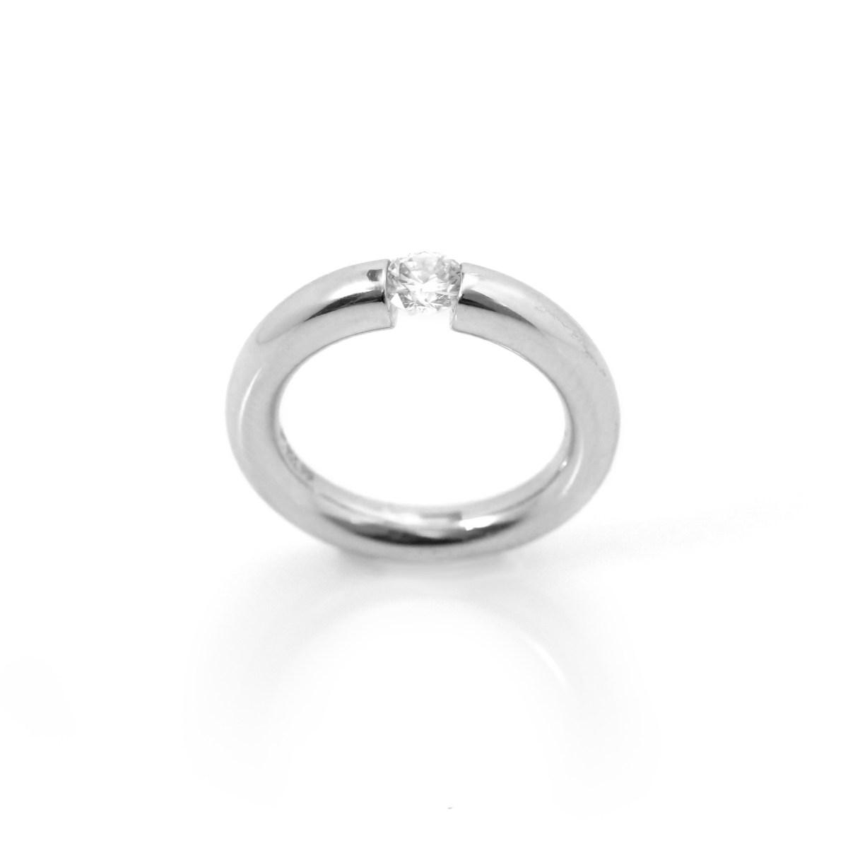 Bague diamant solitaire, 0,33 ct, taille princesse, serti enchassé, taille 47 | Référence BA-B12946 | EVENOR Joaillerie • Bijoux Vintage