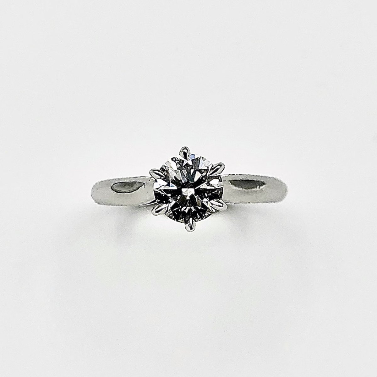 Diamond Solitaire Engagement Ring 1ct, 6 prong settings on 18K white gold, Size 7, ref. BA-A529 | EVENOR Jewellery • Brand new and vintage jewellery