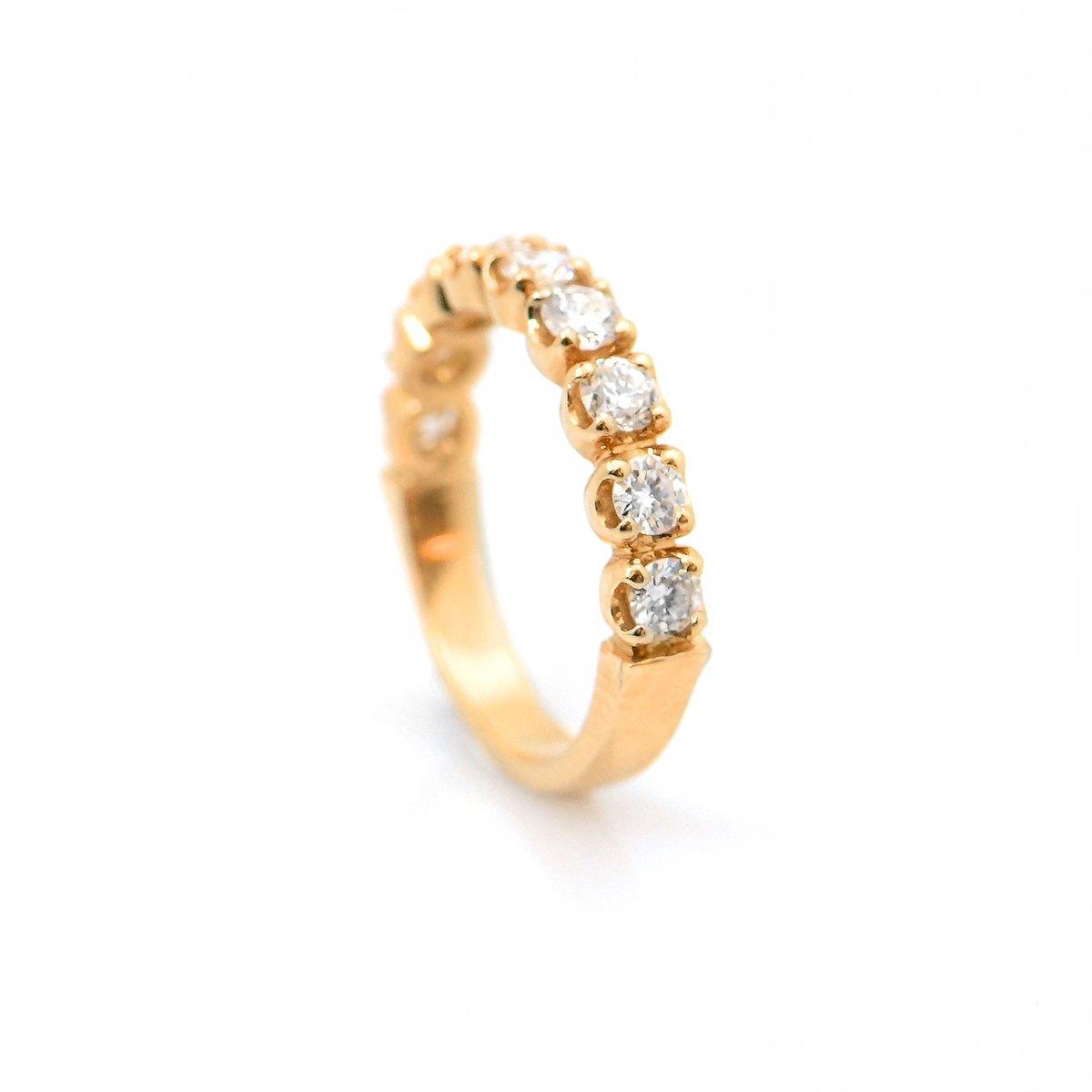 Demi-alliance américaine diamants 0,92ct, taille brillant sur or jaune 750 ‰, taille 53 | Réf. BA-A536 | EVENOR Joaillerie • Bijoux neuf - Bijoux Vintage