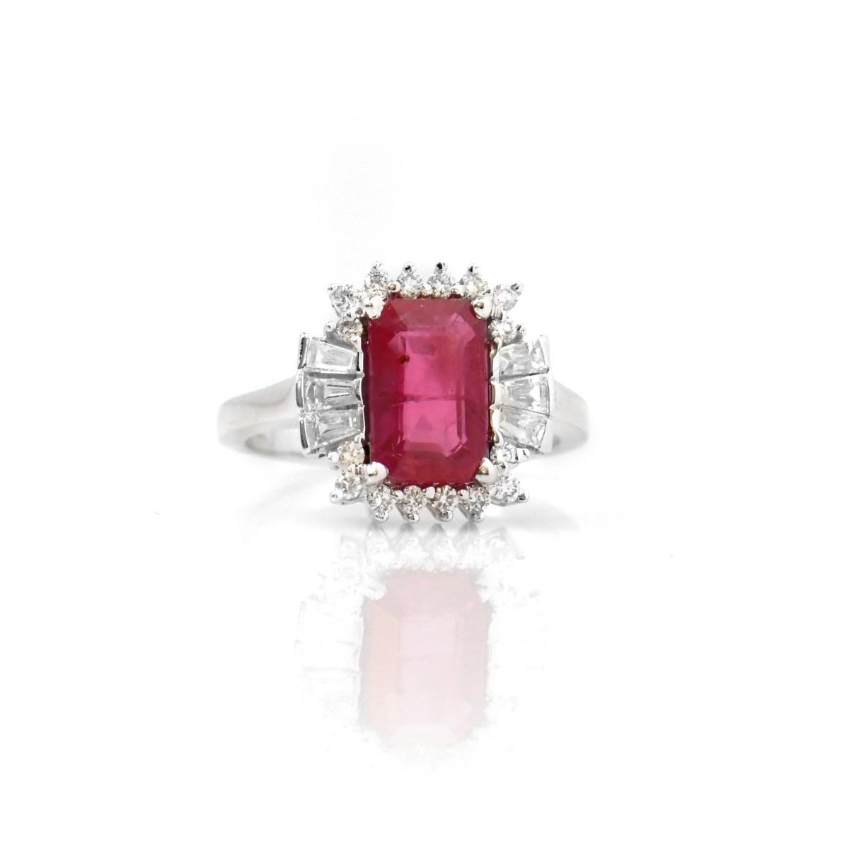 Bague Rubis et diamants, Or blanc, Taille 55/56 | Référence : BA-B17434 | EVENOR Joaillerie • Bijoux neufs, bijoux Vintage et bijoux d'occasion