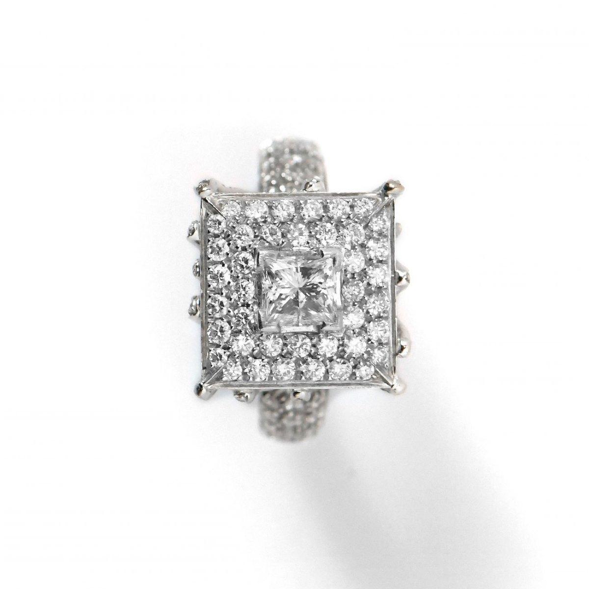 Bague Diamant, Pavage Diamants et Or Blanc | Référence : BA-B18784 |EVENOR • Joaillerie, spécialiste en bijoux Vintage et bijoux d'occasion