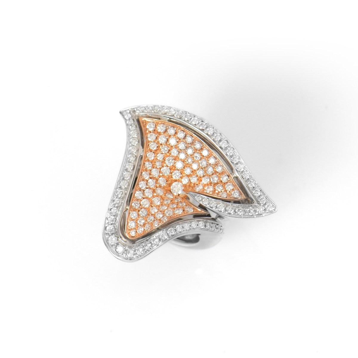 Bague Fleur Pavage Diamants | Référence : BA-B16562 | EVENOR Joaillerie • Bijoux Vintage et Bijoux d'Occasion