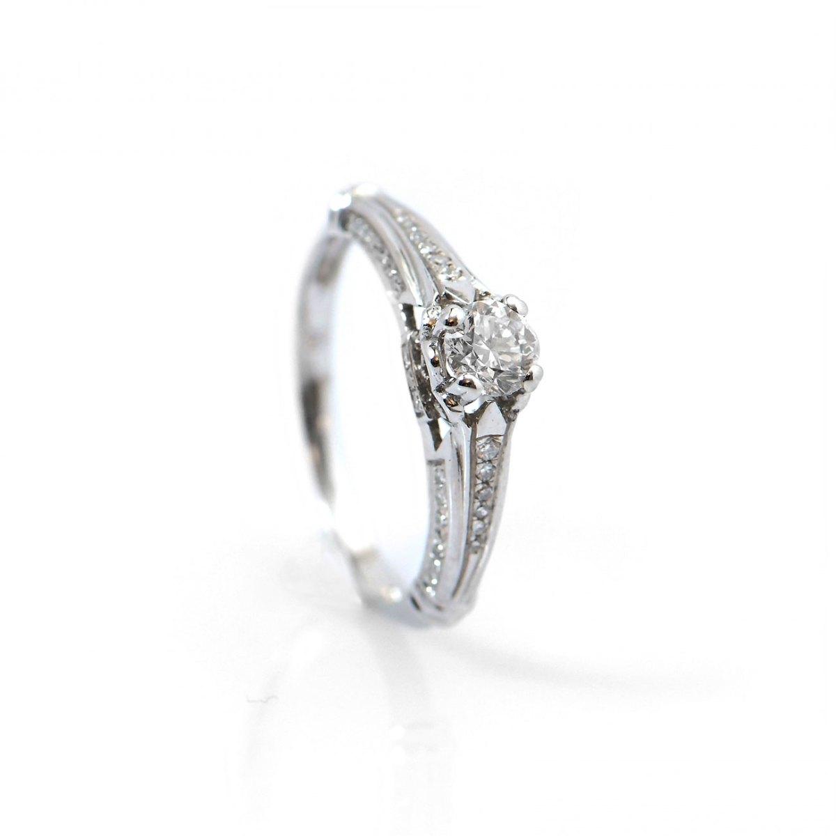 Bague diamant 0,38ct, diamants latéraux 0,12ct, serti griffes sur or blanc 750‰, T.54 modifiable   Réf. BA-B15247   EVENOR Joaillerie • Bijoux neufs, bijoux Vintage et bijoux d'occasion