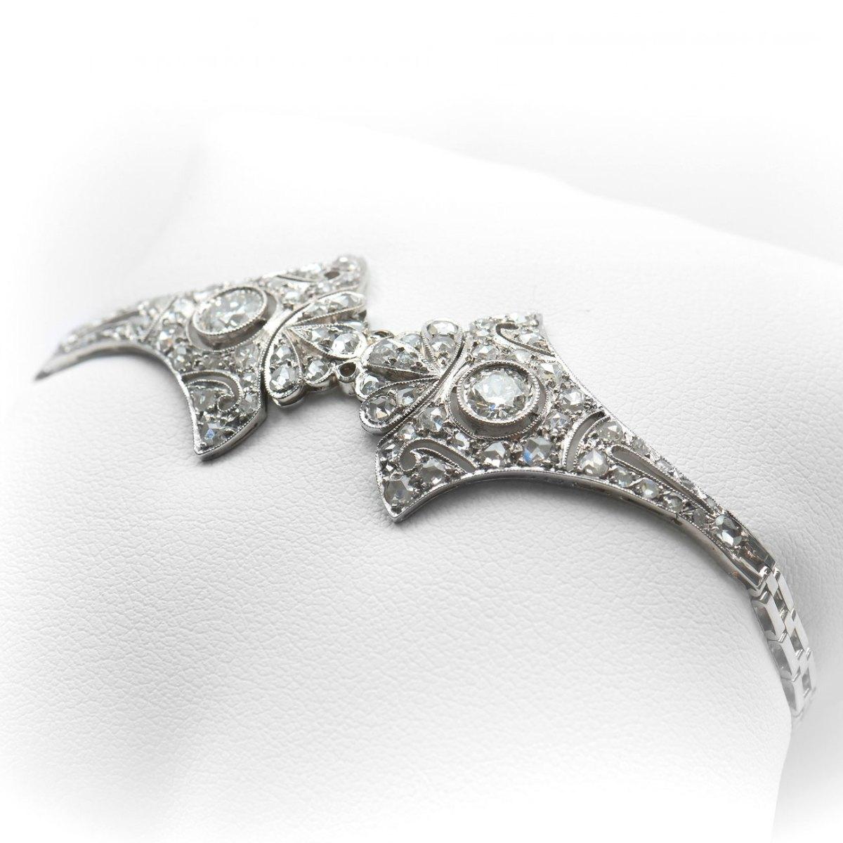 Bracelet Art Déco, or blanc 750‰ et diamants 1,50ct | Réf. BR-B18934 |EVENOR Joaillerie • Bijoux neufs • Bijoux Vintage • Bijoux d'occasion
