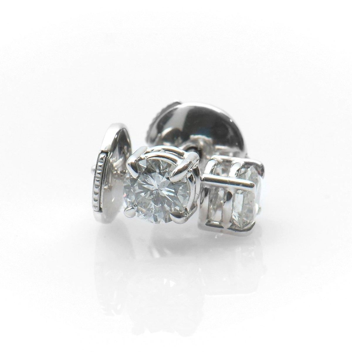 Clous d'oreilles diamants solitaires 0,50ct, serti griffes sur or blanc 750‰ |Réf. BR-A551 | EVENOR Joaillerie • Bijoux neufs • Bijoux Vintage et d'occasion