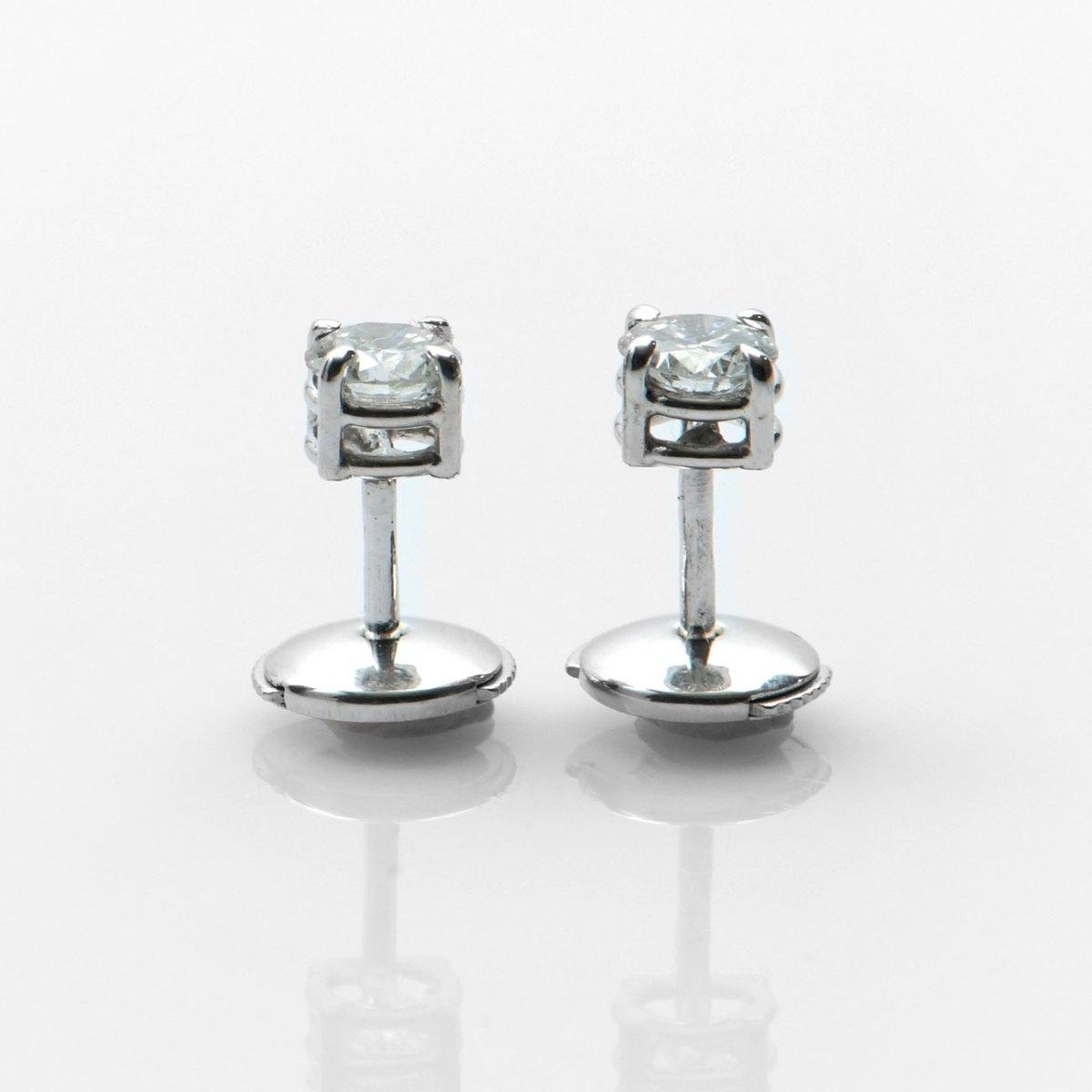 Clous d'oreilles diamants solitaires 0,69ct, serti griffes sur or blanc 750‰ | Réf. BR-A552 | EVENOR Joaillerie • Bijoux neufs • Bijoux Vintage et d'occasion