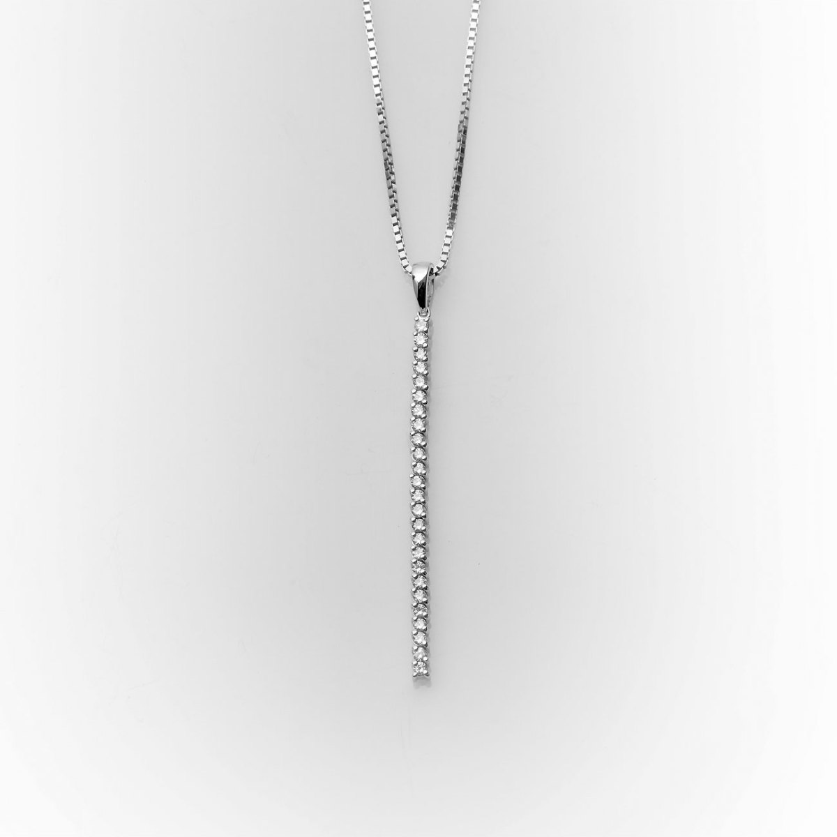 Line of diamonds pendant 0.50ct, chain, white gold 18K, Ref. PE+CH-B18962   EVENOR Jewelry • Brand new and vintage jewelry