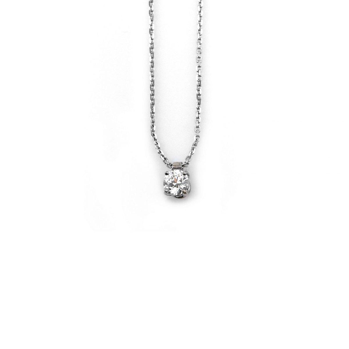 Pendentif Diamant Solitaire 0,40 ct taille Brillant sur chaîne Or blanc 750 ‰ | Réf. PE+CH-A538 |EVENOR Joaillerie • Bijoux neuf, bijoux Vintage, bijoux d'occasion