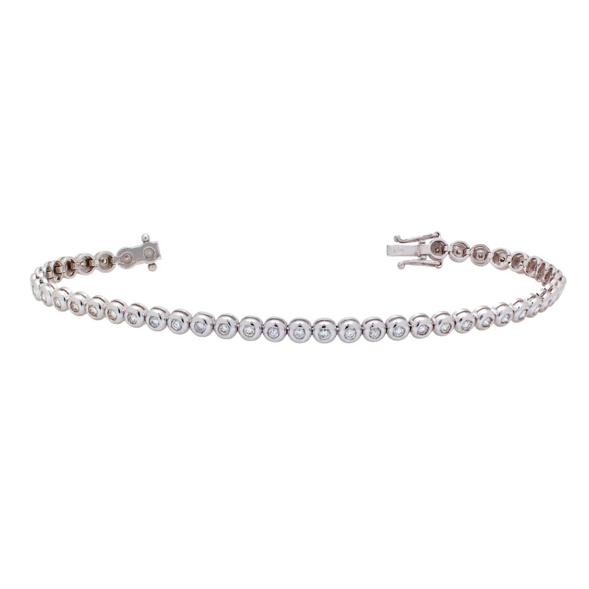Bracelet Rivière Diamants or blanc 750
