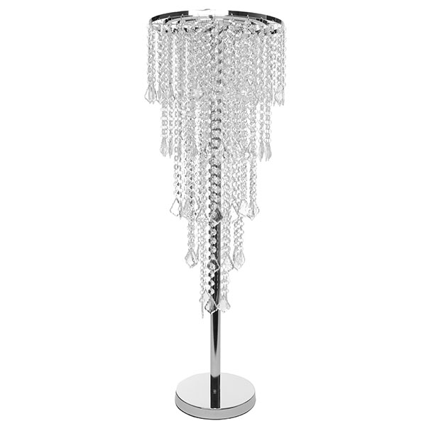 Decostar 5 Tier Faceted Crystal Chrome Table Chandelier Centerpiece With Stand