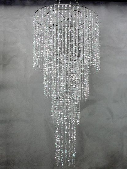 Decostar Large 4 Tiered Chandelier With Diamond Cut Beads 6ft