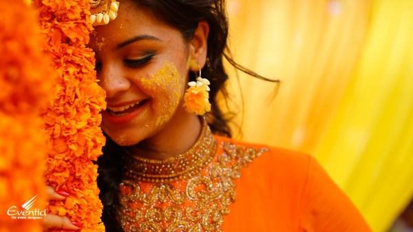 Traditional Hindu WeddingHaldi Function decoration at home
