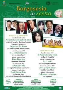 Locandina spettacoli al Teatro Pro loco di Borgosesia 2017/18