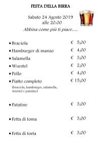 Listino prezzi FESTA DELLA BIRRA Scopello