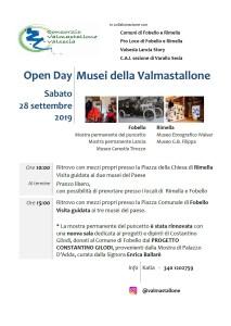 Open day Musei della Valmastallone 28 settembre 2019 locandina