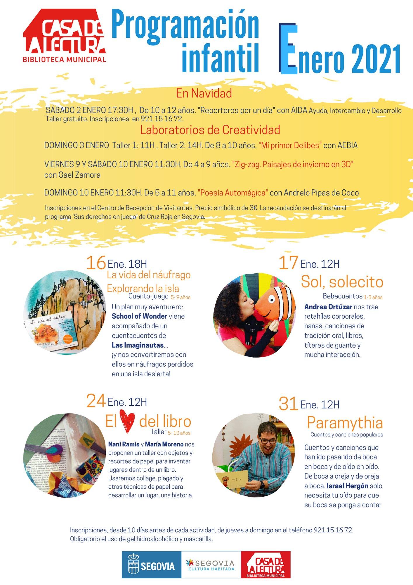 Casa de la Lectura Programación infantil (enero 2021)