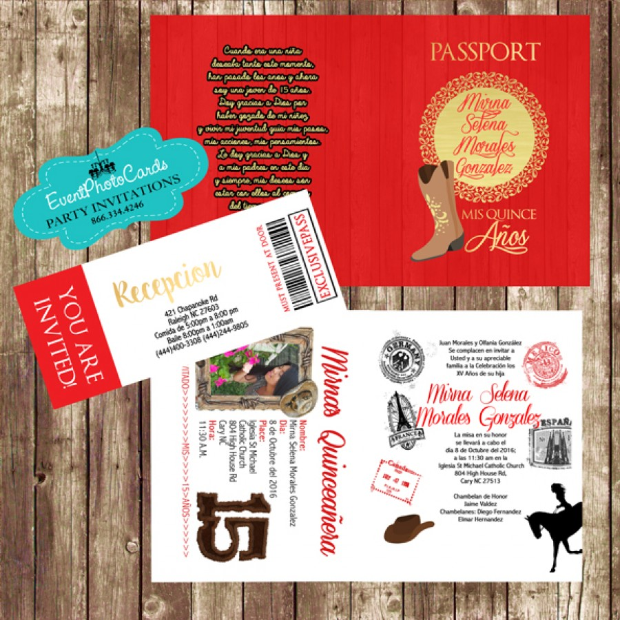 Red And Gold Western Charro Passport Quinceanera
