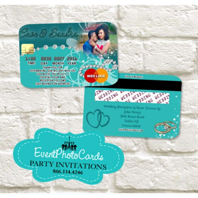 Wedding Credit Card Teal Green Invitations