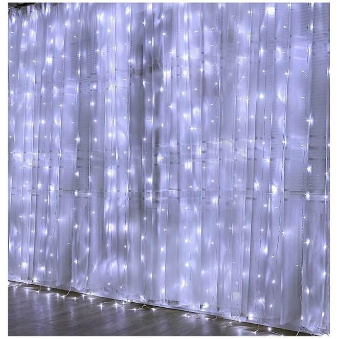 rideau lumineux en soie blanche