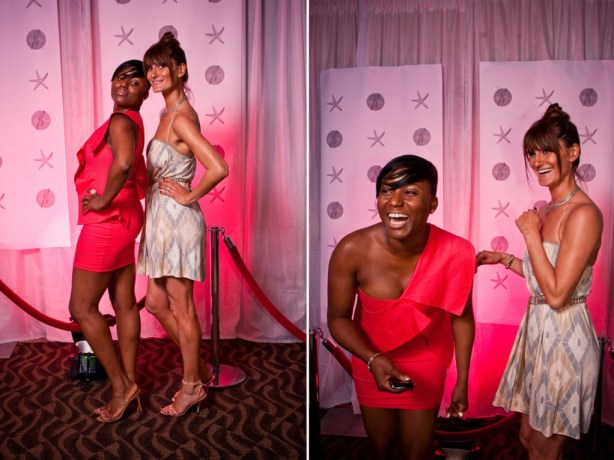 red carpet style photo booth wedding reception