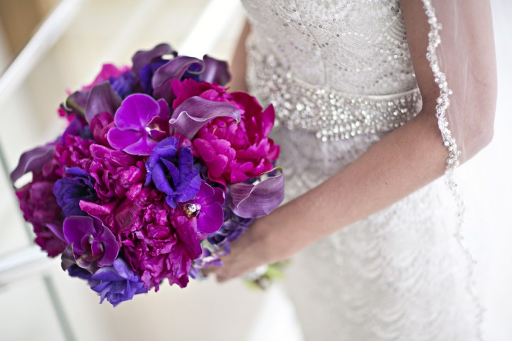 purple pink orchid lily peony colorful bright bouquet wedding bride