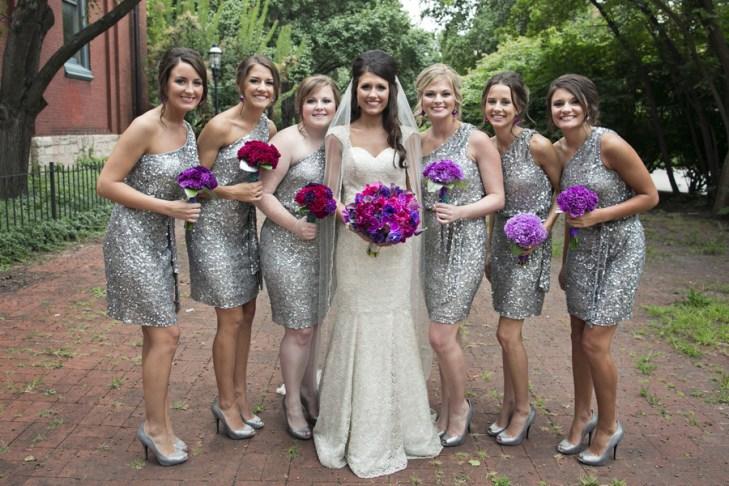 silver sequin bridesmaids ombre purple bouquets flowers carnations sparkle