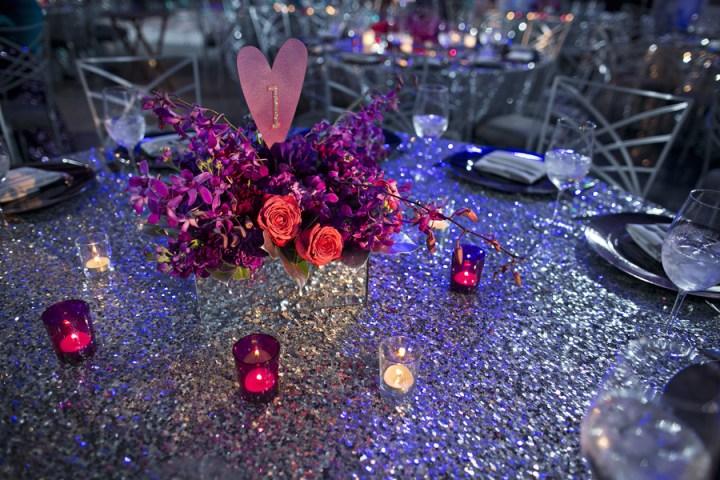 mirror box centerpiece heart table number silver sequin tablecloth linen