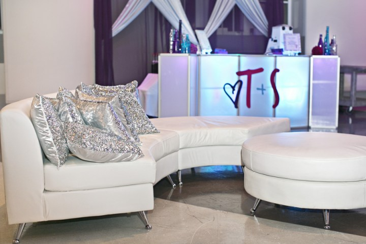 custom light up acrylic bar snow cone with wedding monogram and seating area with silver sequin pillows
