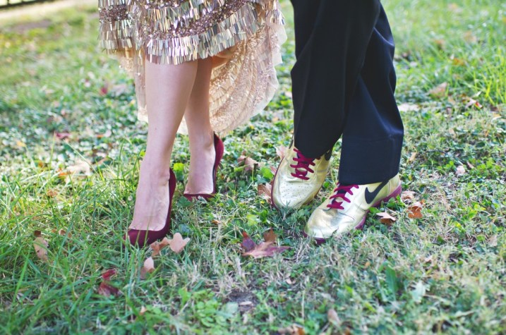 Bride and groom wedding shoes burgundy and gold