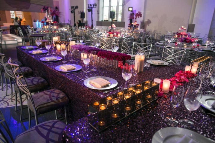 head table purple sequin tablecloth linen infinity candle boxes flowers ombre long