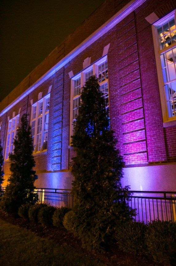 specialty uplighting building wedding reception