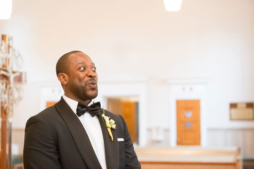 Groom at Our Lady of PIllar Wedding | Events Luxe Weddings
