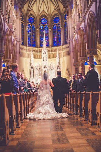 Bride & Groom at St Francis Xavier – SLU College Church | Events Luxe Weddings