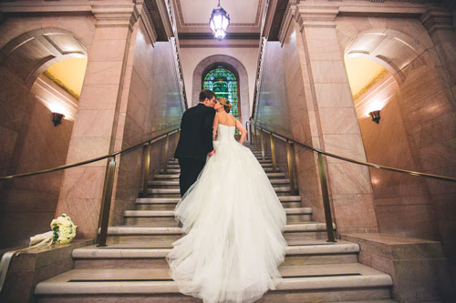 bride and groom at St. Louis Public Library | Events Luxe weddings