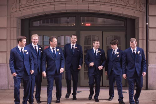 Groomsmen in front of Busch Stadium Wedding Photos | St. Louis Weddings by Events Luxe