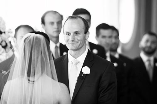 Groom reacts at wedding at Old Warson Country Club | St. Louis Weddings by Events Luxe