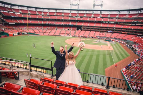 Bride & Groom Photos at Busch Stadium | St. Louis Weddings by Events Luxe