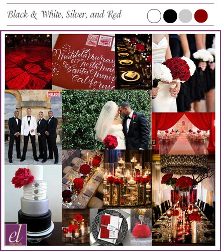 Caramel Room Wedding, Black, Red, White, Silver Color Theme Board | Events Luxe Weddings