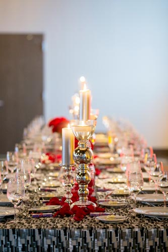 Red & Black Wedding Table Settings | Events Luxe Weddings