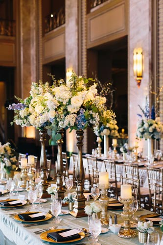 Black Tie Wedding Table Settings at Peabody Opera House | Events Luxe Weddings