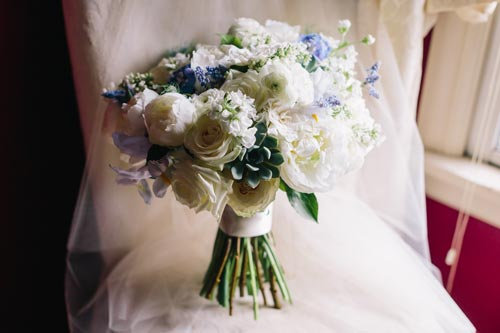 White & Blue Wedding bouquet | Events Luxe Weddings