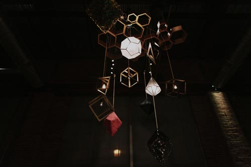 Geometric Shapes from ceiling | Events Luxe Weddings